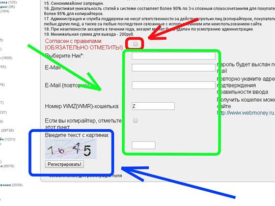 Текстсэйл-поля-регистрации